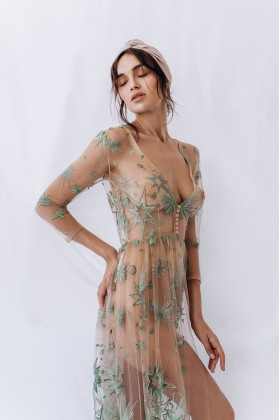 Boudoir dress with embroidery