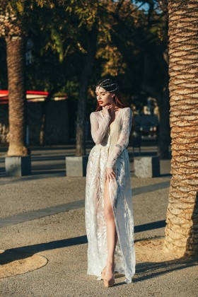 Lacy boudoir dress with long sleeves