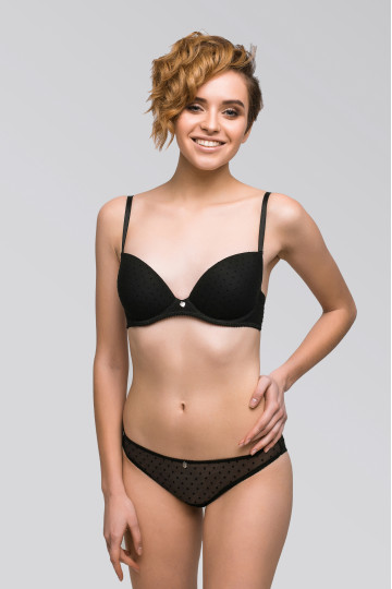 Classic molded cup black and white bra