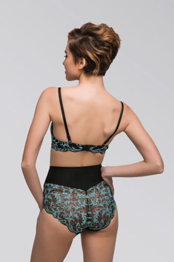 High waisted panties with turqouise lace