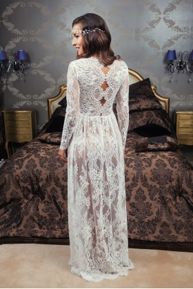 Lacy boudoir dress with interesting back