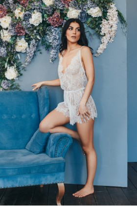 Semitransparent lacy romper with open back